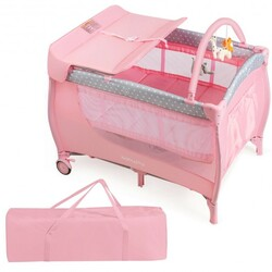 Foldable Safety  Baby Playard for Toddler Infant with Changing Station-Pink - Color: Pink