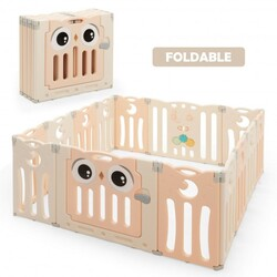 14-Panel Baby Playpen Kids Activity Center Foldable Play Yard with Lock Door-Pink - Color: Pink