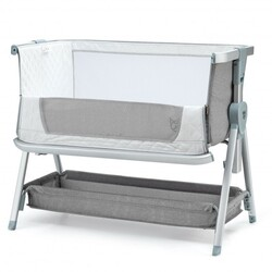 Baby Bed Side Crib Portable Adjustable Infant Travel Sleeper Bassinet-Gray - Color: Gray