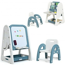 2 in 1 Kids Easel Desk Chair Set Book Rack Adjustable Art Painting Board-Blue - Color: Blue