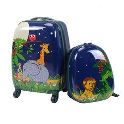 "2 pcs 12"" 16"" Dark Blue Kids Suitcase Backpack School  Luggage Set"