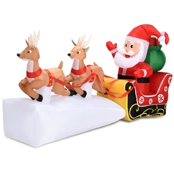 7' Outdoor Christmas Inflatable Santa Claus on Sleigh 2 Reindeers