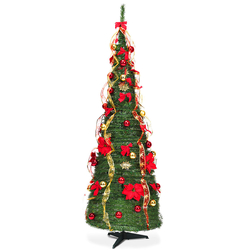 Category: Dropship Seasonal & Holiday Decorations, SKU #CM22050, Title: 6 Ft Pre-lit Spruce Christmas Tree with Light and Ribbon