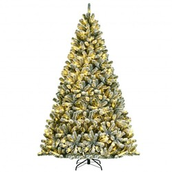 Category: Dropship Seasonal, SKU #CM23444US, Title: 8 Feet Pre-lit Snow Flocked Hinged Christmas Tree with 1502 Tips and Metal Stand - Color: Green