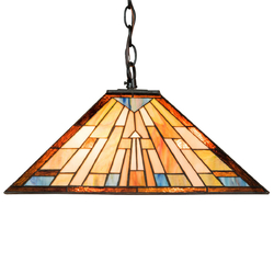 Category: Dropship Lighting Accessories, SKU #EP24105, Title: 2-Light Ceiling Tiffany Hanging Lamp w/ Lamp Shade