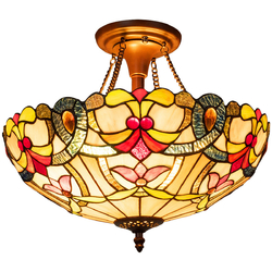 Category: Dropship Lighting Accessories, SKU #EP24111, Title: Tiffany-Style 2-Light Ceiling Lamp with 16