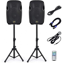 Portable DJ Speaker with Active and Passive Speakers and 2 Speaker Stands  Microphone