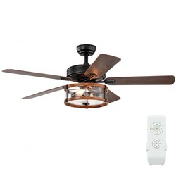 """52"""" Retro Ceiling Fan Lamp with Glass Shade Reversible Blade Remote Control - Color: Black"""