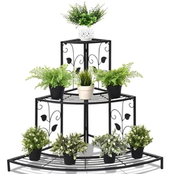 Category: Dropship Plant Stands, SKU #GT3201, Title: 3 Tier Floral Corner Metal Plant Pot Rack