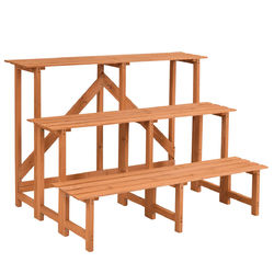 Category: Dropship Plant Stands, SKU #GT3215, Title: 3-Tier Wide Wood Flower Pot Step Ladder Plant Stand