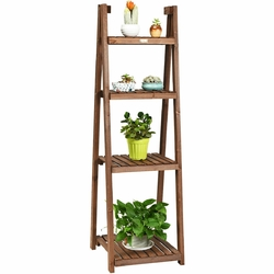 Category: Dropship Plant Stands, SKU #GT3426, Title: Folding Flower Stand Rack Wood Plant Storage Display Shelf
