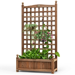 Category: Dropship Pots & Planters, SKU #GT3428, Title: Solid Wood Planter Box with Trellis Weather-resistant Outdoor