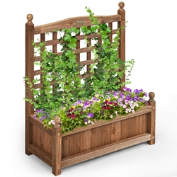 Category: Dropship Pots & Planters, SKU #GT3429, Title: Solid Wood Planter Box with Trellis Weather-resistant Outdoor