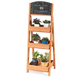 Category: Dropship Plant Stands, SKU #GT3434, Title: Wooden Sidewalk Menu Chalkboard Sign Display Shelves