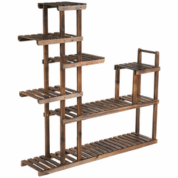 Category: Dropship Plant Stands, SKU #GT3438, Title: 7-Tier Flower Wood Stand Plant Display Rack Storage Shelf