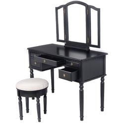Category: Dropship Bathroom Vanities, SKU #HB84674, Title: Black / White Vanity Makeup Dressing Table with Tri Folding Mirror + 5 Drawers