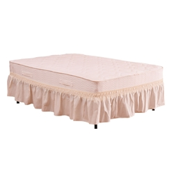"""Twin / Full Size Around Bed 14"""" Elastic Wrap Ruffle Bed Skirt-Beige"""