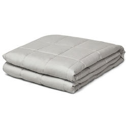 12 lbs Weighted Blankets 100% Cotton with Glass Beads-Light Gray