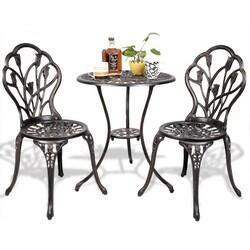 3 pcs Cast Aluminum Outdoor Table and Chair Set - Color: Bronze