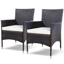 Category: Dropship Outdoor Chairs, SKU #HW51577, Title: Set of 2 Rattan Patio Cushioned Chairs