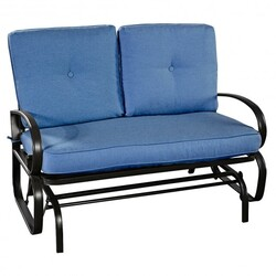 Outdoor Patio Cushioned Rocking Bench Loveseat-Blue - Color: Blue