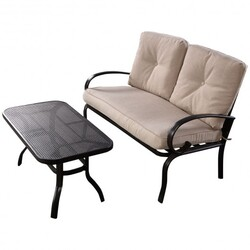 2 pcs Patio Outdoor Cushioned Coffee Table Seat-Beige - Color: Beige