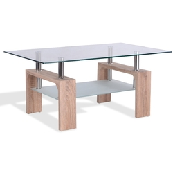 Category: Dropship Coffee Tables, SKU #HW52022color, Title: Living Room Rectangular Glass Wood Coffee Table with Shelf