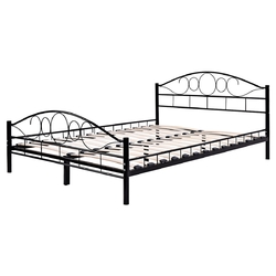 Black Steel Bed Frame with Wood Slats
