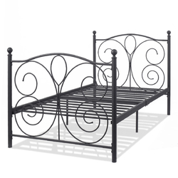 "83"" x 43"" x 42"" Black Twin Size Steel Bed Frame"