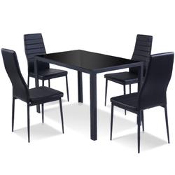Category: Dropship Kitchen & Dining Furniture Sets, SKU #HW52382+, Title: 5 pcs Metal Frame and Glass Tabletop Dining Set