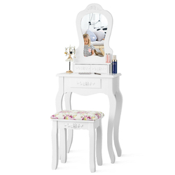 Compact Vanity Makeup Dressing Table Stool Set