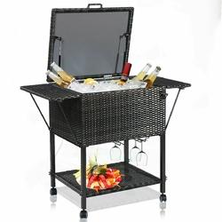Outdoor Portable Rattan Cooler Cart Trolley - Color: Brown