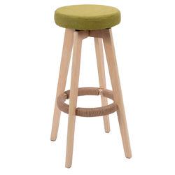 Round Wooden Linen Counter Bar Stool