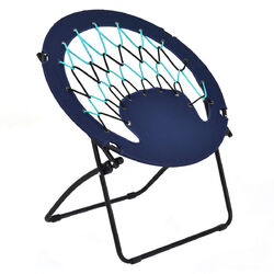 Outdoor Camping Folding Round Bungee Chair-Blue