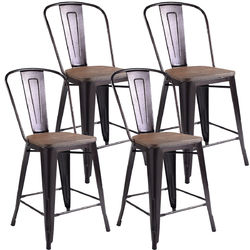 Set of 4 Industrial Metal Counter Stool Dining Chairs with Removable Backrest-Cooper - Color: Copper