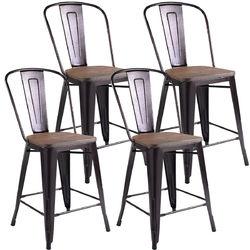 Set of 4 Rustic Metal Wood Bar Chairs