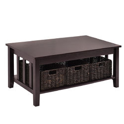 Category: Dropship Coffee Tables, SKU #HW53873, Title: Wooden Coffee Table with 3 Storage Baskets