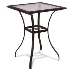 28.5'' Outdoor Patio Square Glass Top Table with Rattan Edging