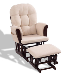 Category: Dropship Baby & Toddler Furniture Sets, SKU #HW54230, Title: Baby Nursery Rocking Chair with Adjustable Backrest + Ottoman