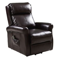 Category: Dropship Arm Chairs  Recliners & Sleeper Chairs, SKU #HW54390, Title: Brown Electric Lift Chair Recliner and Footrest /w Remote Control