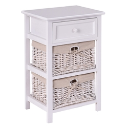 3 Tiers  Wooden Storage Nightstand with 2 Baskets and 1 Drawer
