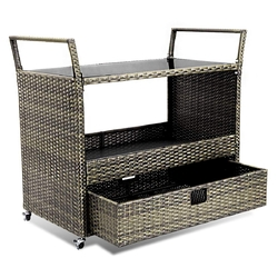 Category: Dropship Kitchen & Dining Carts, SKU #HW54723, Title: Rolling Portable Rattan Wicker Kitchen Trolley Cart