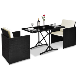 3 pcs Black Patio Rattan Table Chairs Set with Cushions