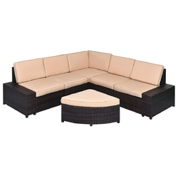 Category: Dropship Outdoor Furniture Sets, SKU #HW54825+, Title: 6 Pcs Patio Furniture Set Rattan Wicker Table Shelf