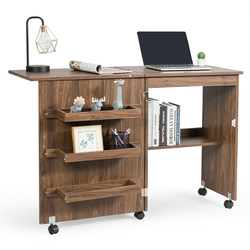 Folding Sewing Craft Table Shelf Storage Cabinet Home Furniture-Brown