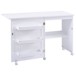 White Folding Swing Craft Table Storage Shelves Cabinet