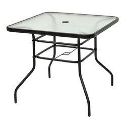 "32"" Patio Tempered Glass Steel Frame Square Table"