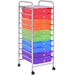10 Drawers Rolling Metal Storage Cart