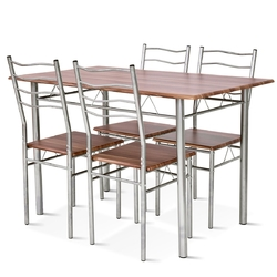 Category: Dropship Kitchen & Dining Furniture Sets, SKU #HW55389, Title: 5 pcs Wood Metal Dining Table Set with 4 Chairs
