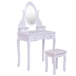 Mirrored Jewelry Wooden Vanity Table Set with 5 Drawers